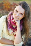 Colorful autumn adult girl portrait Stock Photography