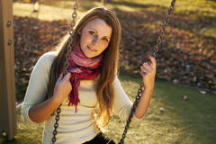 Colorful autumn adult girl portrait Royalty Free Stock Image