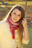 Colorful autumn adult girl portrait Royalty Free Stock Photos