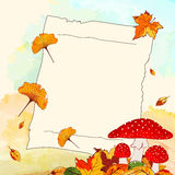 Colorful Autumn Background with Notepaper Stock Images