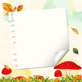 Colorful Autumn Background with Notepaper stock photo