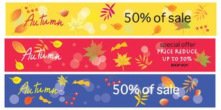 Colorful autumn banners for sale. Beautiful colorful autumn banners for sale Royalty Free Stock Photo