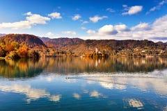 Colorful autumn on Bled lake, Slovenia. Amazing View On Bled Lake With Mountain Range. Slovenia, Europe stock photo