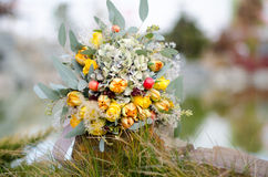 Colorful autumn bouquet closeup. Colorful autumn wedding bouquet closeup On blurred background Royalty Free Stock Photo