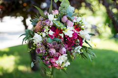 Colorful autumn bouquet closeup. Colorful autumn wedding bouquet closeup On blurred background Royalty Free Stock Photography