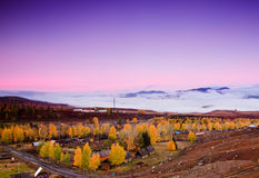 Colorful autumn of China Xinjiang Stock Photos
