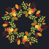 Colorful autumn circle frame with leaves and apples Royalty Free Stock Image