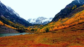 Colorful Autumn Day at Maroon Bells Royalty Free Stock Images