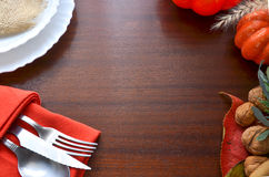 Colorful autumn decoration for festive dinner. Royalty Free Stock Images