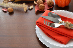 Colorful autumn decoration for festive dinner. Royalty Free Stock Image