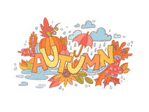 Colorful autumn doodle hand-drawn card Royalty Free Stock Photo