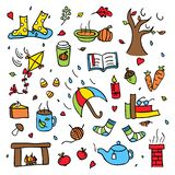 Colorful autumn doodle vector set isolated rainy and windy weather royalty free stock images