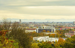 Colorful autumn evening, over Munich, Bavaria, Germany Stock Photo