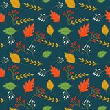 Colorful autumn or fall leaves seamless pattern Royalty Free Illustration