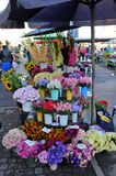 Colorful autumn flowers and bouquets on the market. Colorful autumn flowers on stalls on the markets Stock Photo