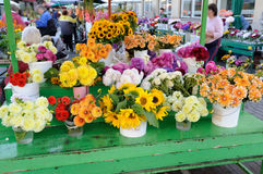 Colorful autumn flowers and bouquets on the market. Colorful autumn flowers on stalls on the markets Stock Photos
