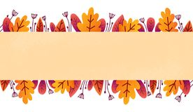 Colorful autumn foliage vector banner template with orange and purple leaves in textured paper flat style.  vector illustration