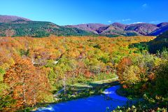 Colorful autumn landscape in Nyuto onsen hot spring resorts stock image