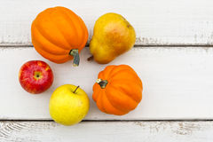 Colorful autumn fruits and vegetables Stock Photos