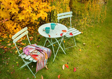 Colorful autumn garden nook with hot tea and blanket stock photo