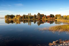 Colorful Autumn Lake Stock Photo