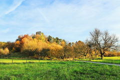 The colorful autumn Landscape with Castle Valecov Royalty Free Stock Image