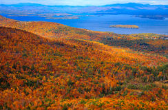 Colorful Autumn Landscape with Lake View Royalty Free Stock Photos