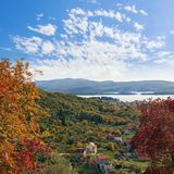 Colorful autumn landscape. Montenegro, Tivat Stock Photo