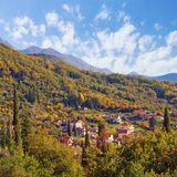 Colorful autumn landscape.  Montenegro, Tivat Stock Photography