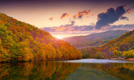 Colorful autumn landscape in mountain lake Stock Images