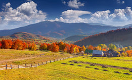 Colorful autumn landscape in mountain village Royalty Free Stock Images
