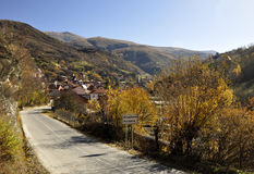 Colorful autumn landscape. In the mountain village, Krushevo village, southern Kosovo Royalty Free Stock Images