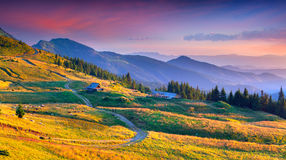 Colorful autumn landscape in mountain village. Stock Photo