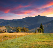 Colorful autumn landscape in mountains village Stock Photography