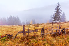 Colorful autumn landscape scene with fence in Transylvania Stock Photography