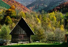 Colorful autumn landscape with traditional house Stock Photography