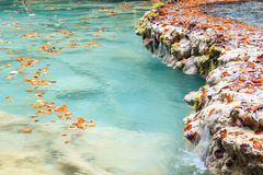Colorful autumn landscape at urederra source, Spain. Colorful autumnal scene at clear natural spring of urederra Stock Image