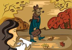 Colorful autumn landscape in vector vector illustration