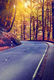 Colorful Autumn Landscape With Curvy Road Stock Photography