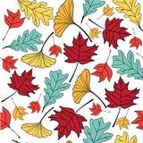 Colorful autumn leaf hand drawn doodle illustration pattern seem Stock Photos