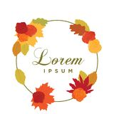 Autumn leafs. Colorful autumn leafs and roses stock illustration