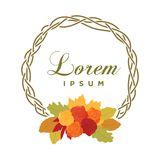 Autumn leafs. Colorful autumn leafs and roses, logo icon royalty free illustration