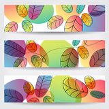 Colorful autumn leaves banners Stock Photo