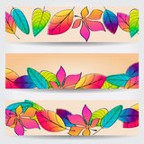 Colorful autumn leaves banners Royalty Free Stock Photography