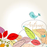 Colorful autumn leaves and bird illustration. Vector cute, colorful, hand drawn style autumn leaves and bird background illustration Stock Image