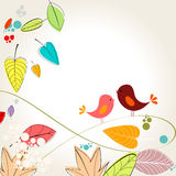 Colorful autumn leaves and birds illustration Royalty Free Stock Photo