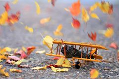Colorful autumn leaves blowing across an airplane. Autumn leaves blowing in the wind across a yellow model airplane royalty free stock image