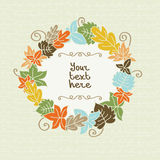 Colorful autumn leaves with frame for text Royalty Free Stock Photos