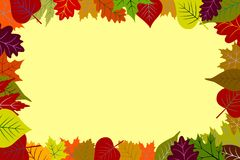 Colorful Autumn Leaves Frame Yellow Background. Abstract multicolored autumn leaves frame background. red, yellow, orange, green, purple, tan & burgundy leaves Stock Images