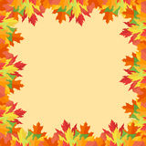 Colorful autumn leaves frame on yellow background. Vector illustration Stock Images